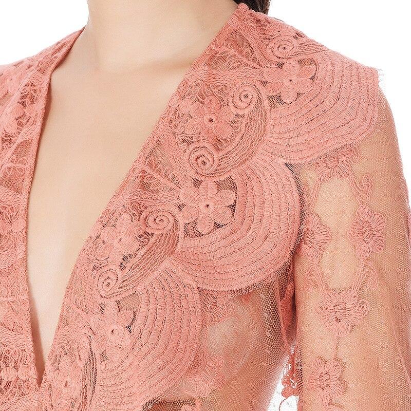 Vêtements Profond De Sexy Femmes Mini Robe Ruches Courtes Blanc Automne Marque Pink Luxe 2018 Douille white En V Dentelle Robes Col Rose Fusée Parti 0X8PknwO
