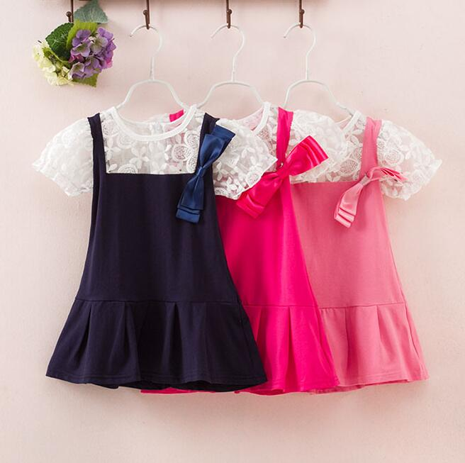 Girls dress kids clothes children clothing short sleeve lace bow summer princess 2015 girl dresses 0401 sylvia 44445518287