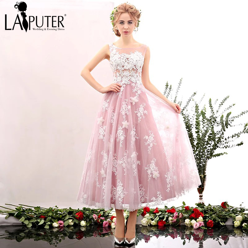 2016 Hot Selling Cheap Discount Pink Light Blue Tea Length Lace Sexy See Through Formal Evening