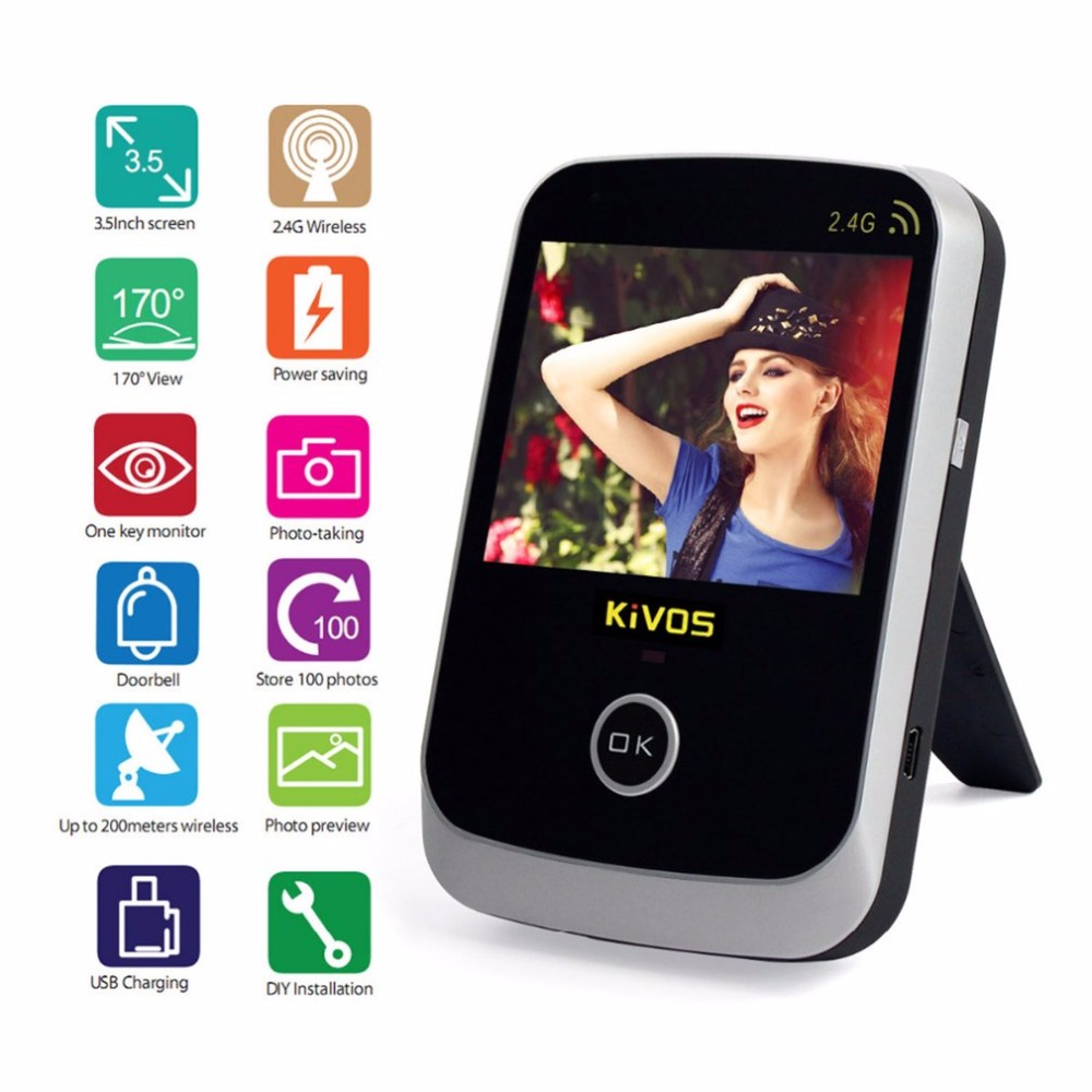 """KiVOS 3.5"""" Digital Door Eye Peephole Door Viewer 2.4GHz Wireless Video Doorbell Camera Monitor for Home Apartment"""