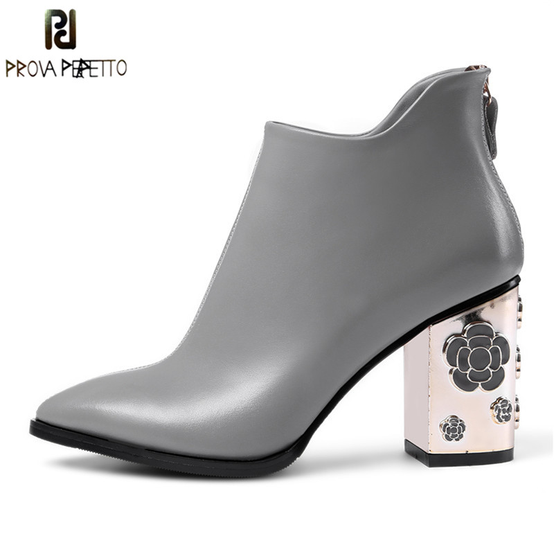 Prova Perfetto New Genuine Leather Shoes Women Ankle Boots Autumn Rose High Heels Martin Boots Zip Winter Handmade Leather Shoes fanyuan pu leather shoes women ankle boots autumn thick high heel martin boots zip winter handmade leather shoes boot blac