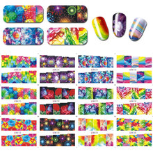 12sheet Rainbow Starry Sky Water Transfer Nail Stickers DIY Decals Abstract Art Sticker Watermark Tattoo RGWRTW