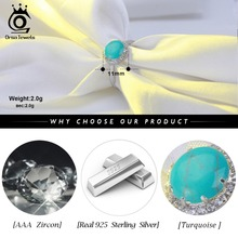 Genuine 925 Sterling Silver Turquoises Pave Setting AAA Cubic Zircon Women Ring (4 colors)