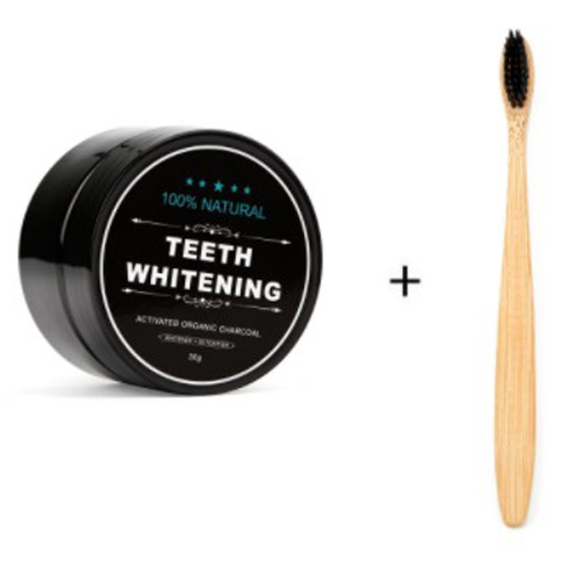 Natural Bamboo Charcoal tooth brush Teeth Whitening Powder Whiten for dental Oral Hygiene Cleaning image