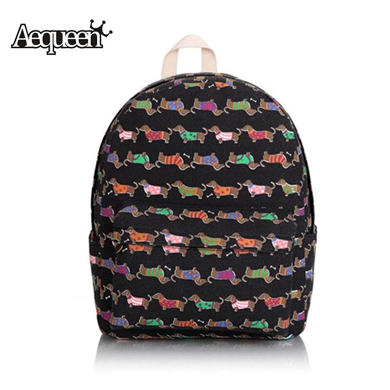 Aequeen Cute Dog Backpacks Womens Schoolbag Teenage Shoulder Bag Cartoon Printing Rucksacks Girls Mochilas Travel Daypack