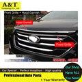 Chrome Гуд Гарнир + Передняя Решетка Вокруг Накладка Для 2013 2014 Hyundai Santa Fe IX45 высокое качество chrome наклейки обрезать стайлинга автомобилей