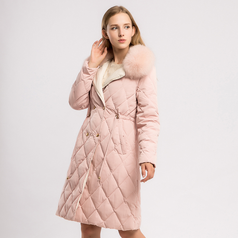 YNZZU 2018 Winter Pink Sweet Women's   Down   Jacket Long Style 90% White Duck   Down     Coat   with Real Fox Fur Collar Warm Overcoat O612
