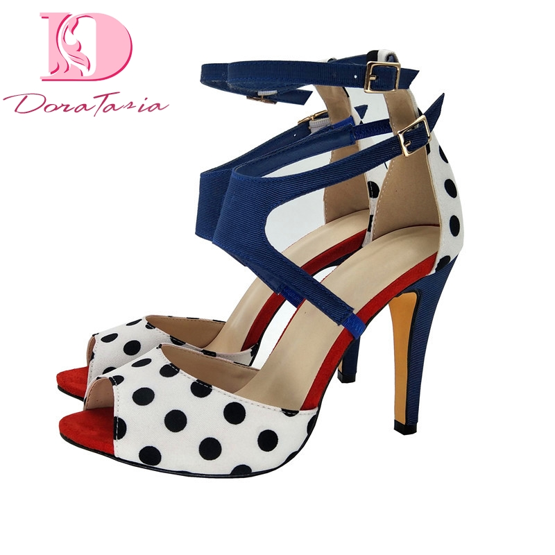 Doratasia Brand big size 43 High Heels ankle strap polka dot women s Shoes Woman Elegant