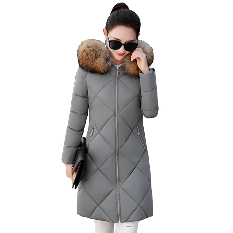2017 New Winter Women Coat Slim Long Hooded Parka Fashion Big Fur Collar Jackets Snow Wear Warm Overcoat Female Jacket RE0049 slim winter jackets women belt long down coat 2016 new fashion women s winter coat fur collar coats female thick warm parka y269