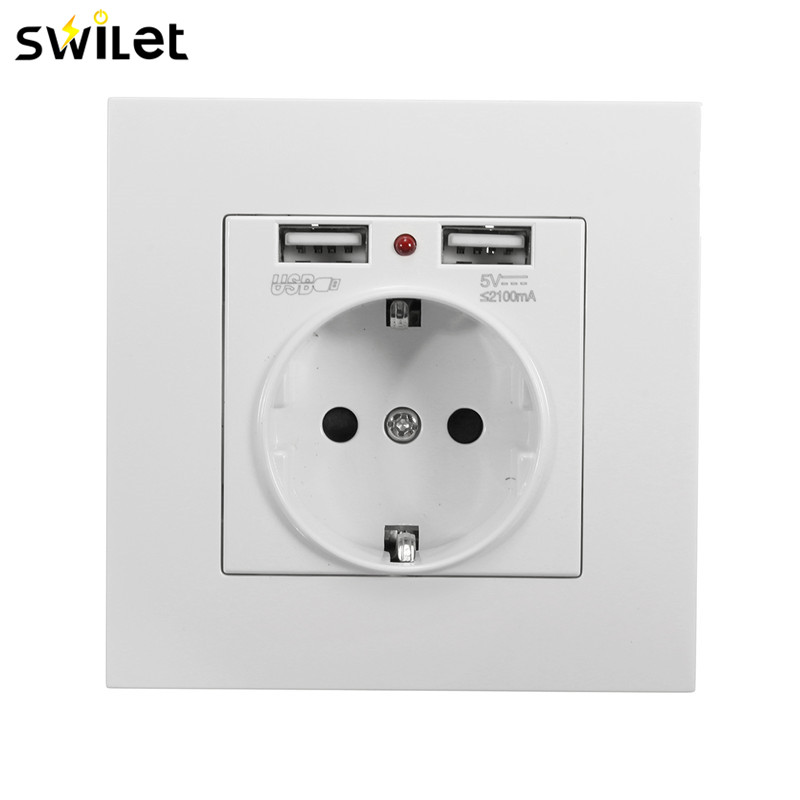 SWILET EU Standard 2.1A Dual 2 USB Ports Electric Wall Charger Station Socket Adapter Power Outlet лонгслив printio stay on target звёздные войны