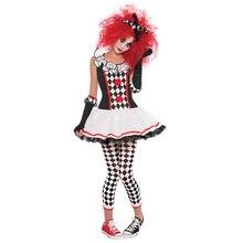 353f532ea Dia das bruxas Mulheres Meninas Harley Quinn Traje de Arlequim Bobo Da Corte  Palhaço de Circo Monstro Uniforme Fancy Dress Masqu.