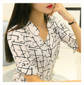 The new spring and summer 2015 new Korean OL short sleeved shirt female age lady stripe chiffon shirt