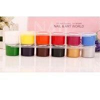 12 pçs/lote New Manicure Gel Projeto Pintura 12 Cores Nail Art Polonês Pigmento Desenho Com Pincel Caneta Conjunto