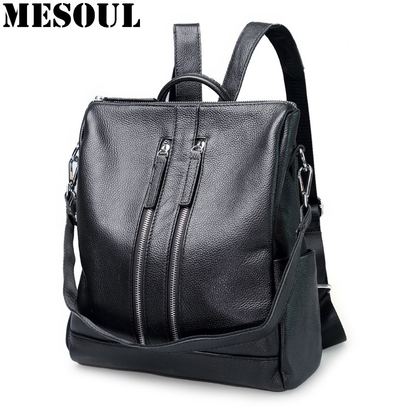 New Arrival Black Genuine Leather Women Backpack for Teenage Girls School Bag Fashion Travel Ladies Shoulder Bags Bolsas Mochila цена
