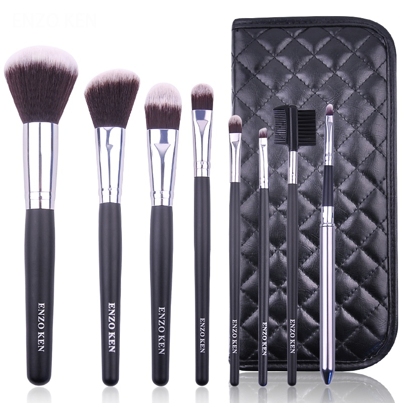 8 Pcs Wood Handle Beauty Bag Oval And Fan Professional Makeup Brushes Set With Eyebrow Powder Highlighter Blush Foundation