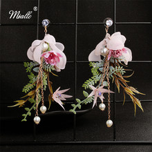 Miallo 2019 Newest Fashion Artificial Flowers Bridal Earrings Wedding Bride Bridesmaids  Crystal Pearls for Women