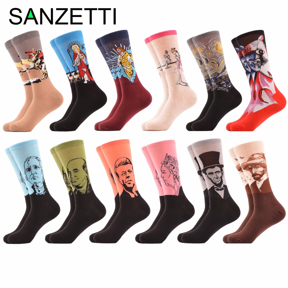 SANZETTI 12 Pairs/lot Colorful Mens Funny Combed Cotton Dress Wedding Crew Socks Oil Painting Streetwear Style