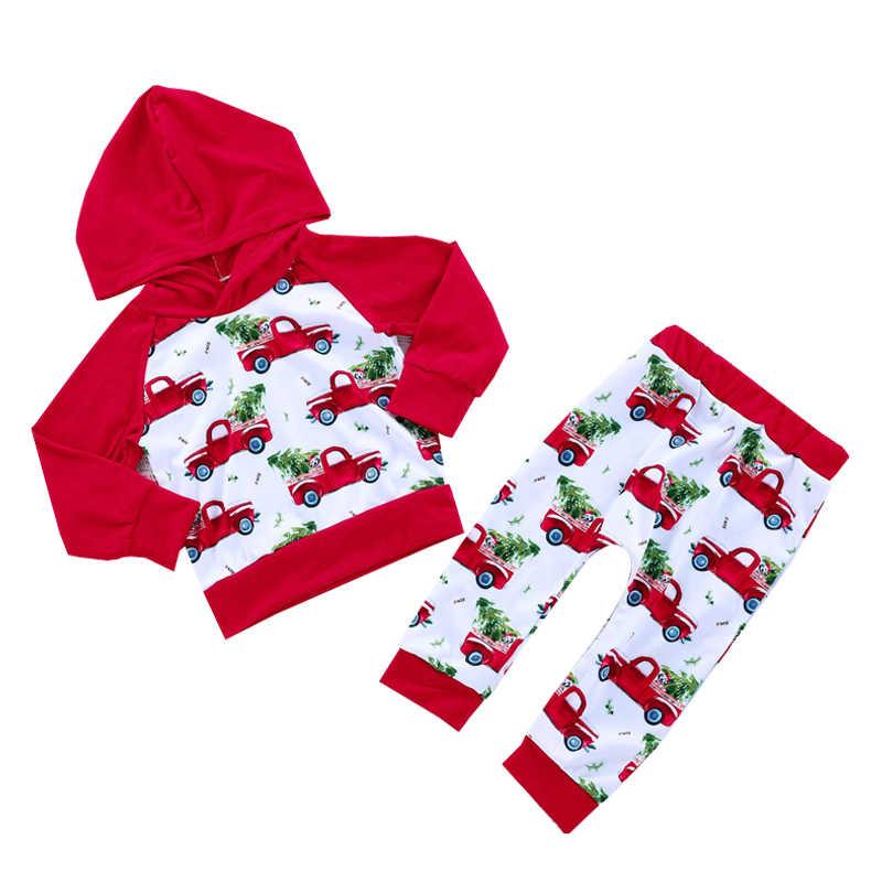 Floral Pig Christmas Baby Clothes Set Newborn Cute Long Sleeve Xmas Tree  Truck Hooded T Shirt 8e1f35be099b