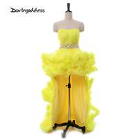 High Quality Lace Evening Dresses 2017 Yellow Short Front Long Back Real Pictures Prom Evening Gowns