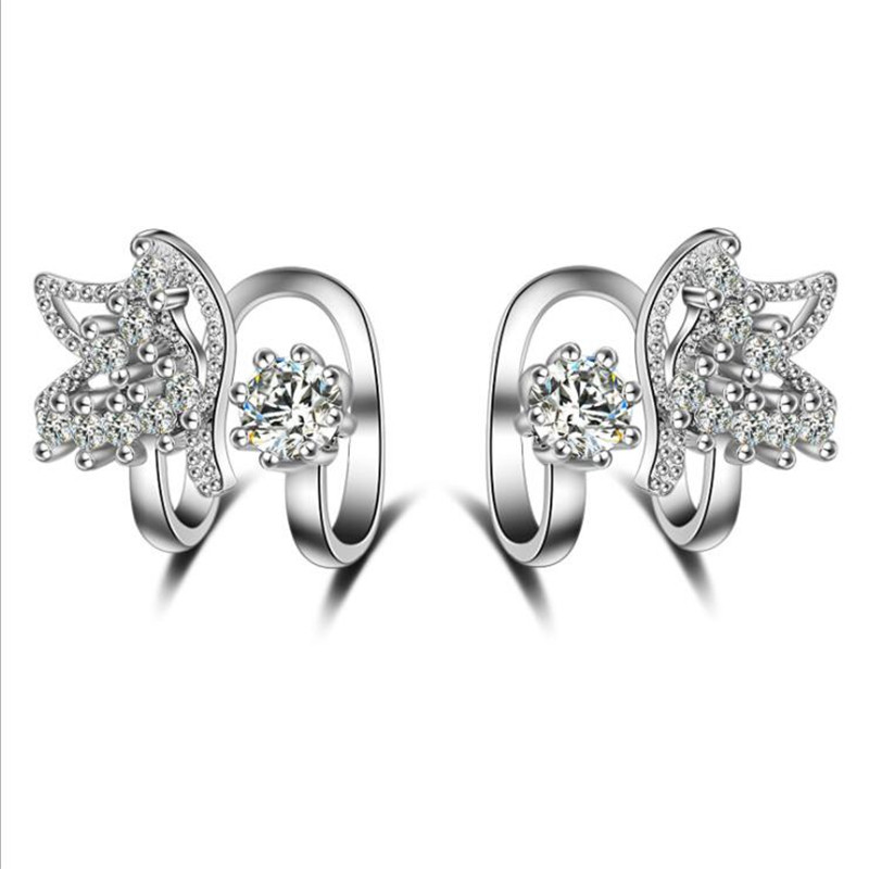 Jewelry & Accessories Clip Earrings Friendly Fashionable And Lovely Crystal Butterfly 925 Pure Silver Ear Clip Without Ear Hole Eh108 High Quality Materials