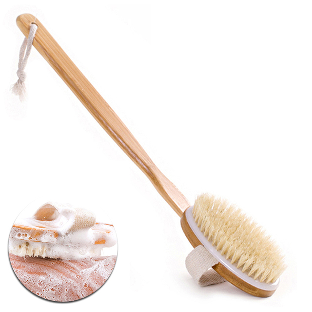 Us 3 33 1 Pcs Wooden Bath Nature Bristle Body Brush Long Handle Reach Back Body Shower Brush Spa Scrubber Bathroom In Bath Brushes Sponges
