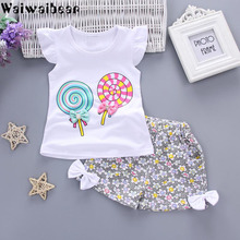 Waiwaibear Summer Newborn Infant Baby Girls Sets Baby Cotton T-Shirt+Shorts 2PCS Baby Sets Girls Clothes WW1 free shipping 2017 summer female baby girls shorts sets infant fly sleeve vest 2pcs suit lollipop