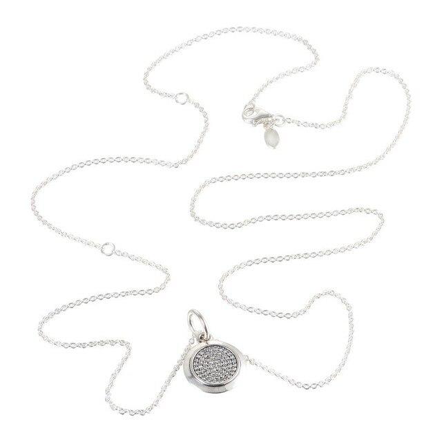 100% 925 Sterling Silver Colares Originais Para Mulheres Rodada Pingentes Charme Com CZ Pedras DIY Moda Jóias Por Atacado