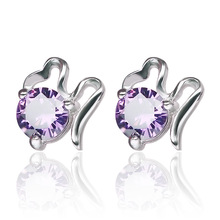 цена 100% 925 sterling silver fashion shiny crystal ladies`stud earrings jewelry Anti allergy women female gift drop shipping в интернет-магазинах
