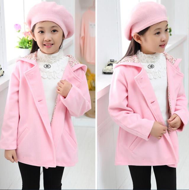 Roupas de inverno 2016 das crianças meninas sólida trincheira seção curta cardigan com capuz casacos para meninas crianças casacos de lã bebê menina