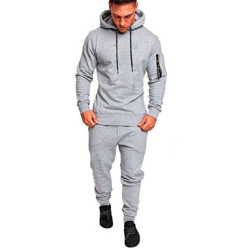 Hirigin Men Tracksuit Autumn Winter Active Suit Set Outwear Hooded Hoodies And Long Pants #3