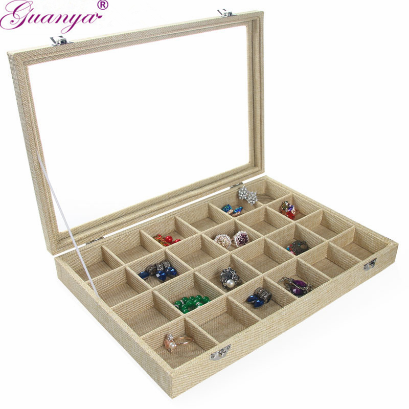 Guanya Tray Jewelry Linen Ring Box Display Earring Show Storage Organizer Fashion Multi Grid Case Bracelet Necklace Holder Stand цена