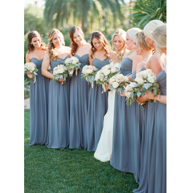 1a3fad304 Vestido Del Banquete de boda Elegante Novia Piso-Longitud Azul Polvoriento  Vestidos de dama de