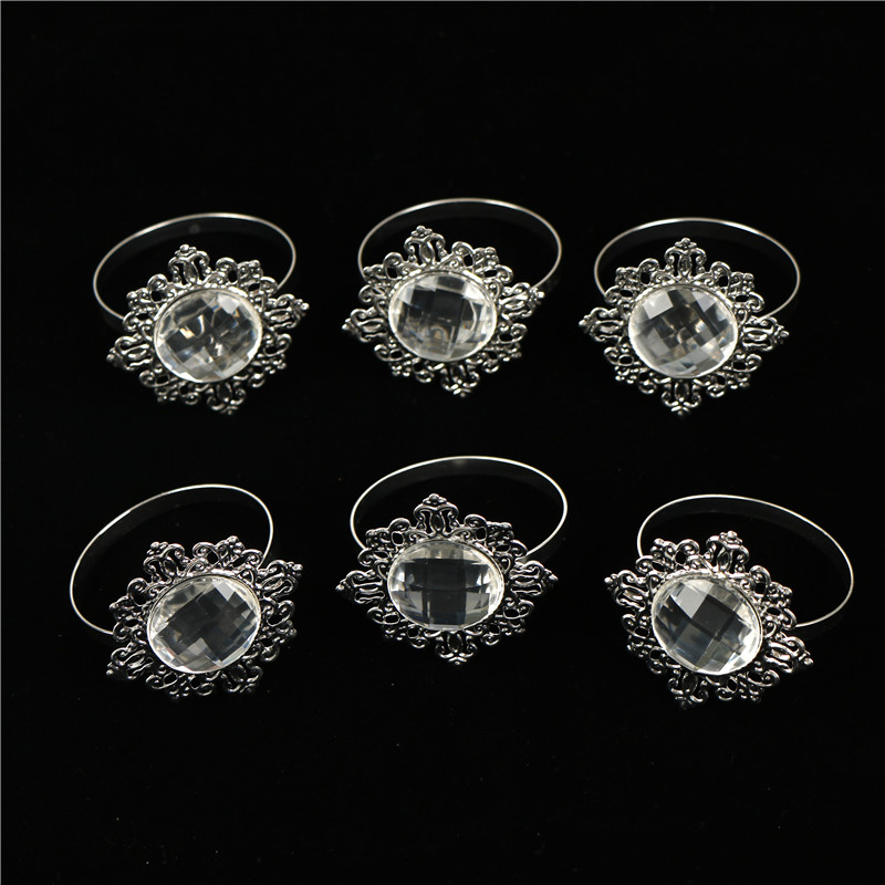6Pcs Diamond Paper Napkin Ring For Table Kitchen Serviette Holder Wedding Receptions Gifts Banquet Dinner Christmas Decor Favor