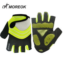 MOREOK открытый дорога велосипед перчатки Половина Finger 5 мм ударопрочного SBR Для мужчин Для женщин спортивные перчатки для езды на велосипеде