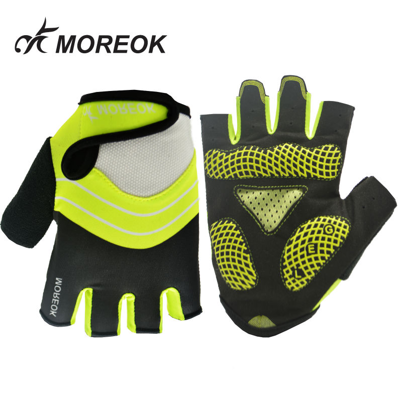 MOREOK Outdoor Road Bike Bicycle Gloves Half Finger 5MM Shock-proof SBR Men Women Sports Gloves For Cycling