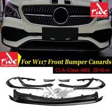 CLA-W117 Anterior lip 8-pcs ABS Black For cla180 cla200 cla250 cla45 Front Bumper Canards Lip Fin Sports 2016-18