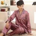Pijamas Para Homens Primavera e No Outono Fina Cardigan pai Dos Homens de Cetim de Seda Sleepwear Sólida Pijama Salão Sono Pijama dos homens conjuntos