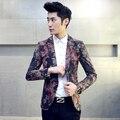 2016 Marca de Moda de Los Hombres Florales Blazer Chaquetas Vestido de Los Hombres Delgados Botón del ajuste Uno Suit Abrigo de Hombre Ropa de Otoño Casual Masculina Blazer