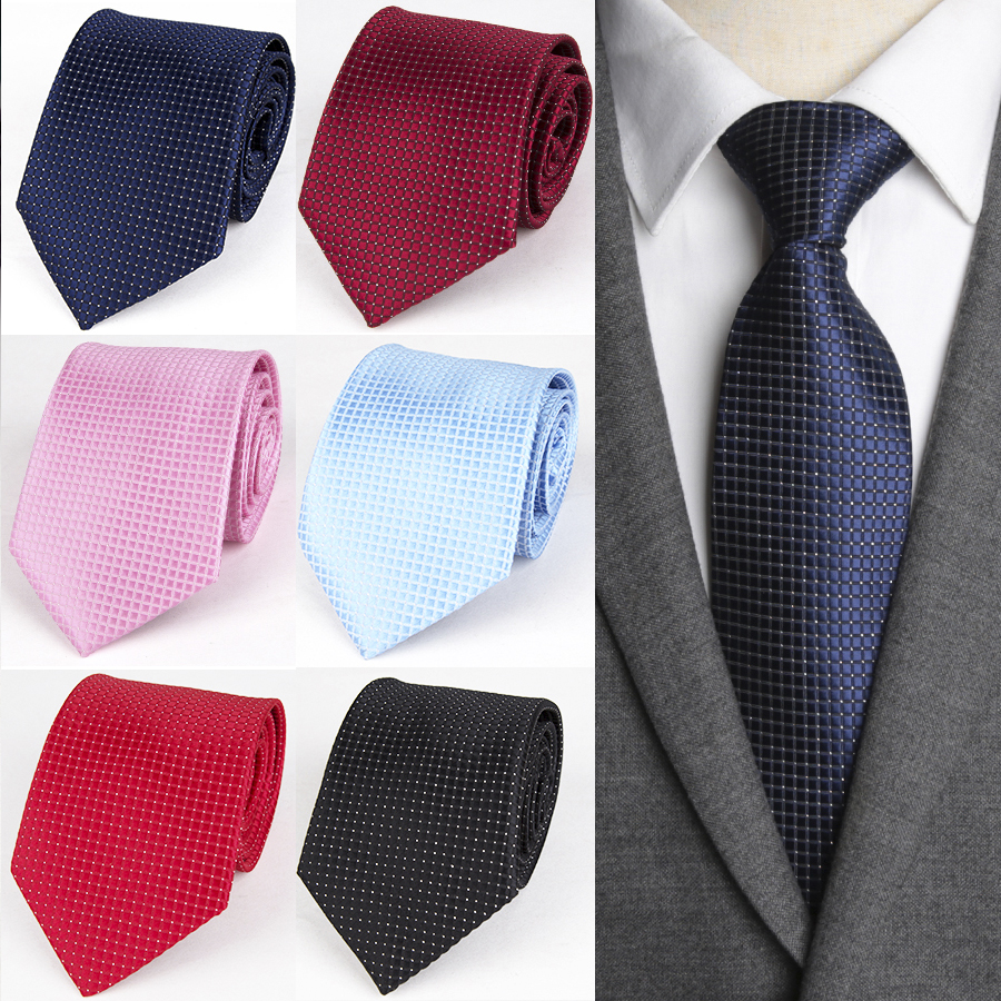 Men Ties Formal Classic Checks Jacquard Woven Polyester Mens Bow Tie For Man Fashion Shirt 8cm Solid Necktie Wedding Neck Tie Apparel Accessories