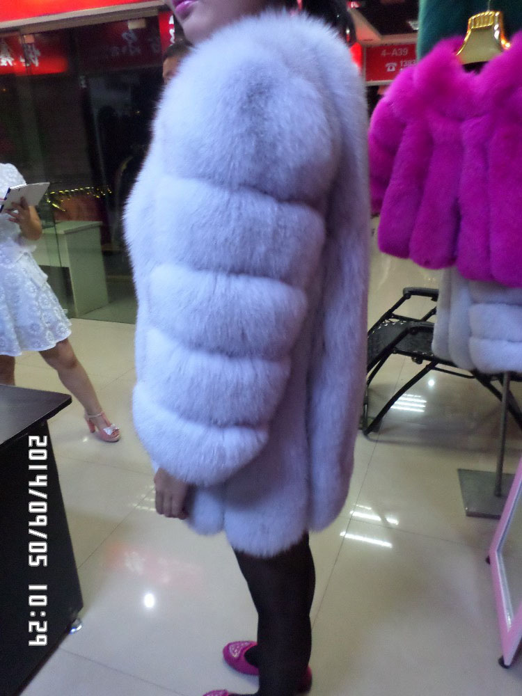 Linhaoshengyue Long 75cm Blue fox fur red long sleeved black jacket in Real Fur from Women 39 s Clothing