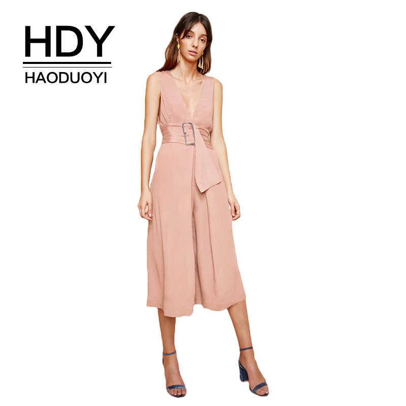 HDY Haoduoyi бренд 2019 розовый/белый повседневные Комбинезоны v-образный вырез без рукавов с открытыми плечами пояс на талии широкие ноги элегантные комбинезоны леди
