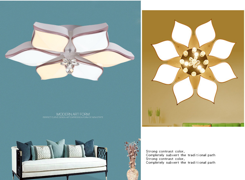 Led Ceiling Lamp Living Room Round Crystal Lamp Petal Shape Ceiling Fan Light Simple Modern Bedroom Lamp Led Panel Light Ceiling Lights & Fans Ceiling Lights