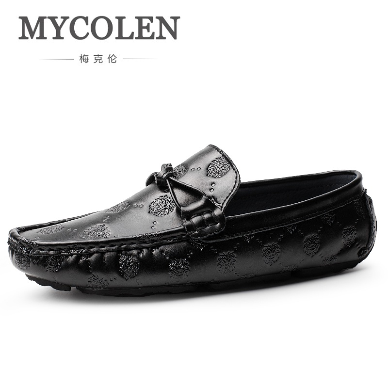 MYCOLEN Spring/Autumn Men's Shoes Casual Luxury Brand Loafers Shoes Breathable Genuine Leather Flats Shoes Male Mannen Schoenen mycolen brand new fashion autumn spring men driving shoes loafers leather boat shoes breathable male casual flats loafers