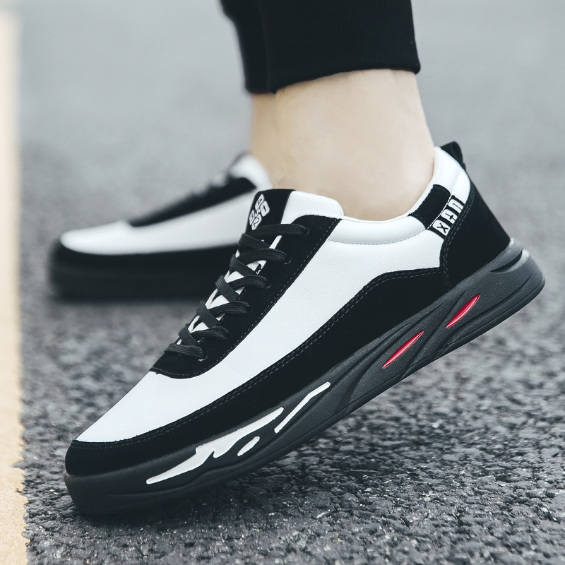 Men Casual Shoes New Spring Comfortable Lace up Sneakers Shoes Men Flat Loafers Zapatos Hombre Black White Flat Male Footwear 1