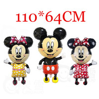 Large 110 64 Cm Minnie Mickey Foil Balloons Red Bowknot Standing Mouse Polka Dot Wedding Birthday