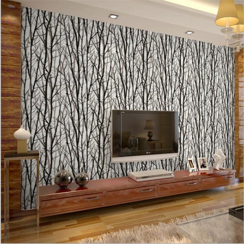 beibehang Modern minimalist 3D three-dimensional abstract PVC black and white twig wallpaper Nature wood background wallpaper three hands box set of 3 wood dice white