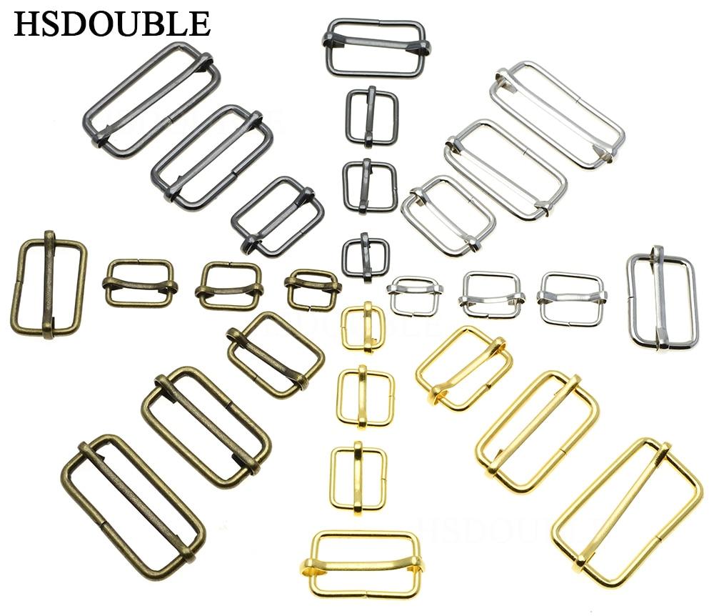 100pcs/pack Metal Slides Tri-Glides Wire-Formed Roller Pin Buckles Strap Slider Adjuster Buckles