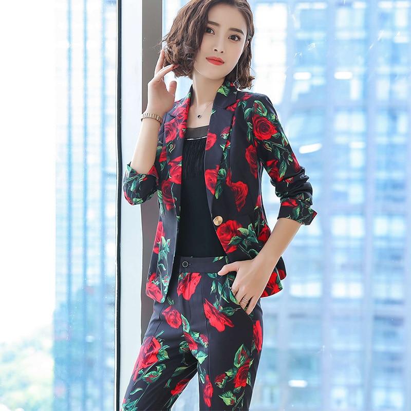 Décontracté Costume Taille Pièce Pantalon Neuf Mode Deux Femmes Grande Noir Blanc Col Impression Professionnel rose Nouveau Ol Usure Tempérament De TwRIqxzX