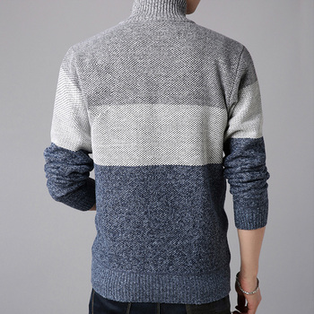 2019 New Autumn Men s Knitted Sweaters fashion Long sleeve stand Collar Male Cardigan stitching