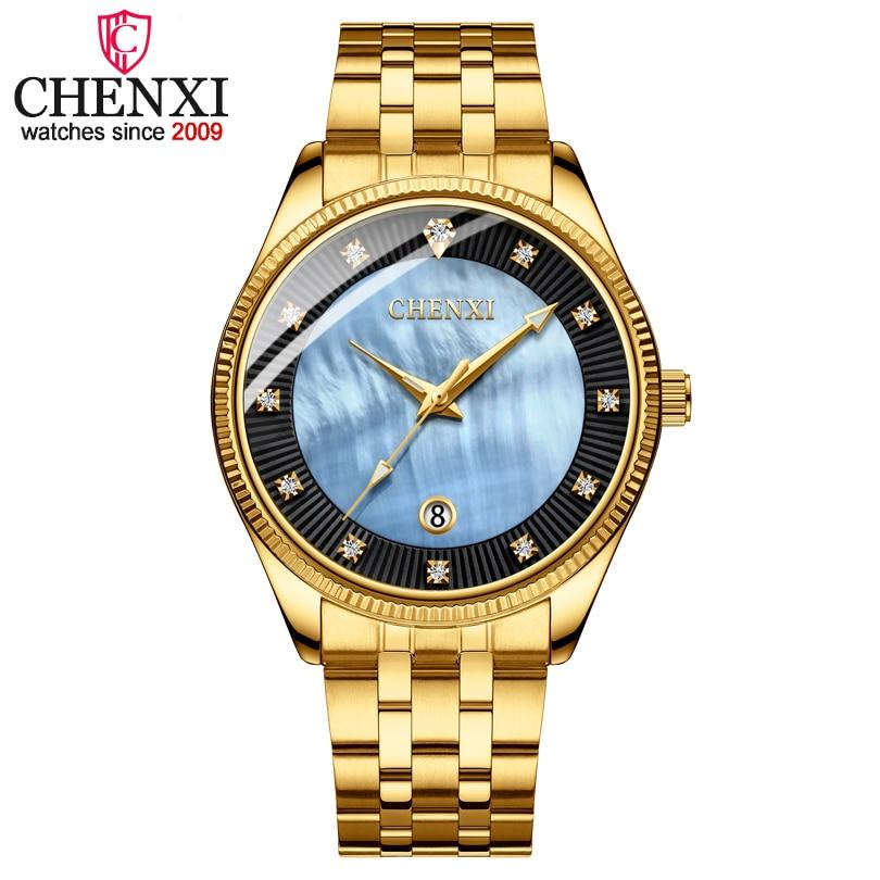 CHENXI Men Quartz Wristwatches Luxury Brand Man Golden Business Fashion Watch Mens Shell Dial Clock Dress Relogio Masculino fashion chenxi men leather watches man fashion casual quartz watch male clock calendar dial wristwatches relogio masculino xfcs
